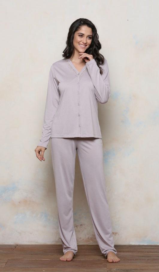 Pijama Plus Size Longo Malha PV com Botões